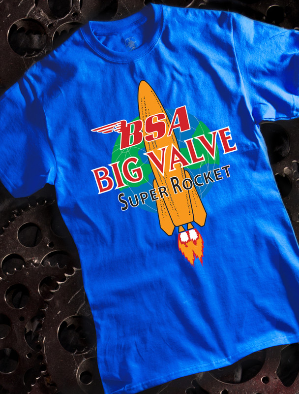 BSA Big Valve Mens Tee on Blue