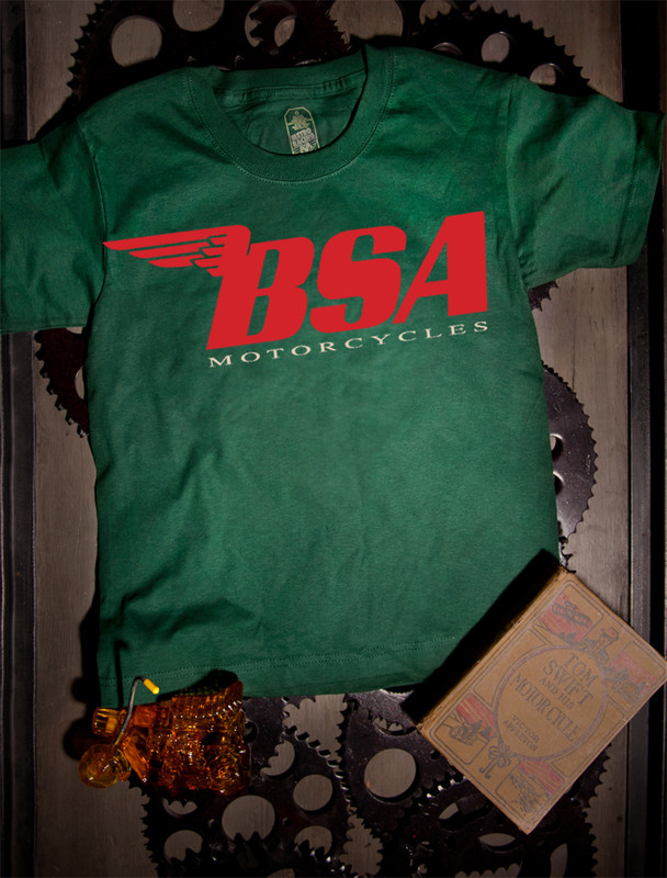 BSA Motorcycles Kids Tee on Green