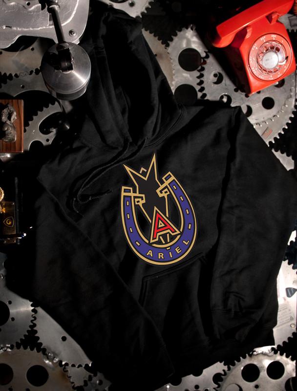 Ariel Motorcycle Badge Hoodie on Black