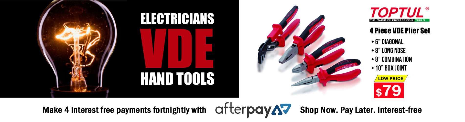 Toptul Tools Electrican VDE Pliers - Lifetime Warranty - Audel Tools