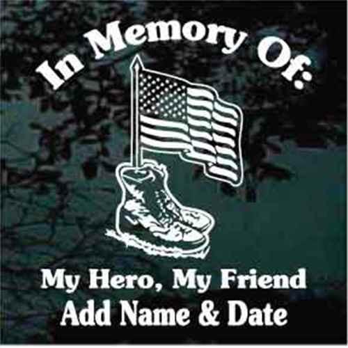 American Flag In Combat Boots Memorial Veteran Decals