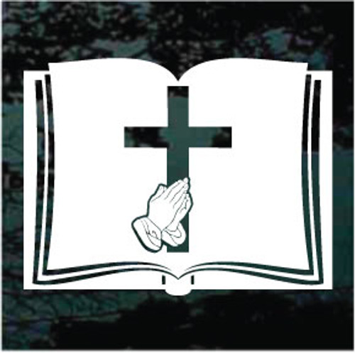 Bible With Praying Hands & Cross