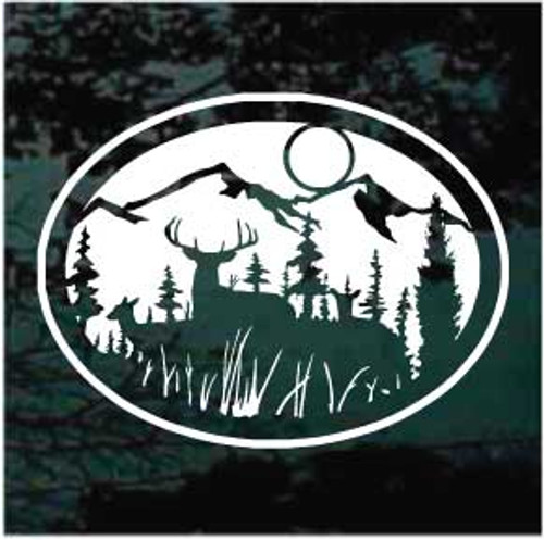 Deer Mountain Scene Oval Window Decal