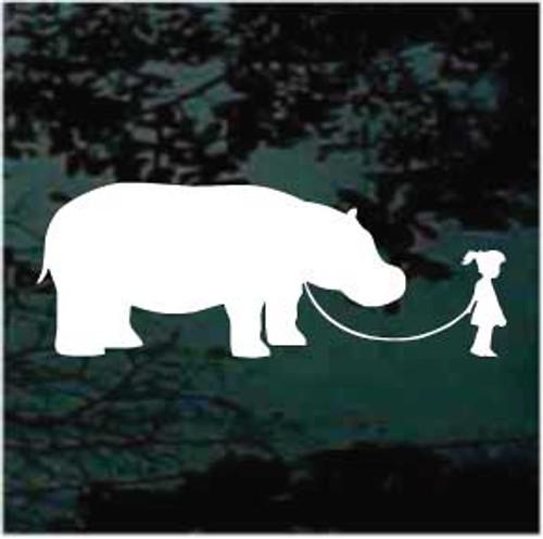 Girl Walking Dinosaur Stickers