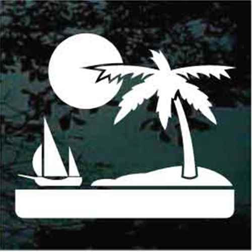 Palm Tree Scene With Sun, Water & Sailboat