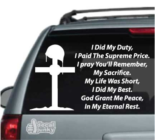 I Did My Duty Soldiers Prayer Stickers