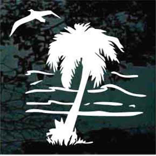 Palm Tree With Ocean & Seagull