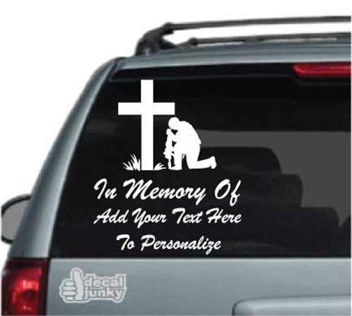 Christian Soldier Praying Memorial Stickers