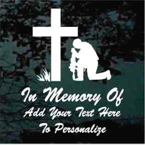 Christian Soldier Praying Memorial Decals