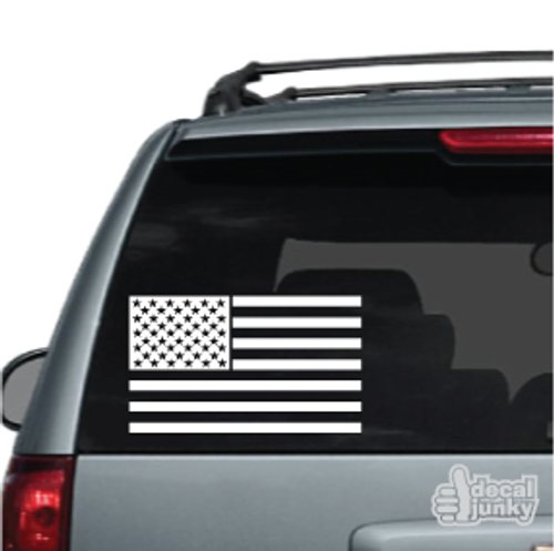 American Flag Single Color Car Decal