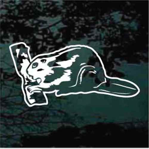 Beaver Gnawing A Log Beaver Decals