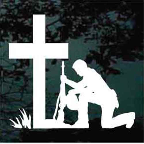 Christian Soldier Kneeling Veteran Decals