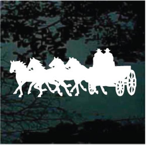 Four Horses Pulling Wagon