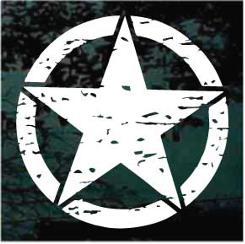 Distressed Military Star Window Decal