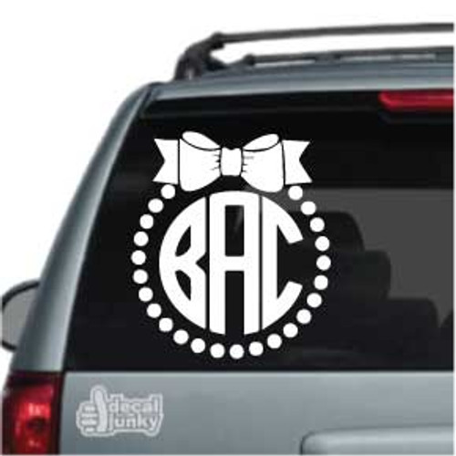 Small Dots Bow Monogram Stickers