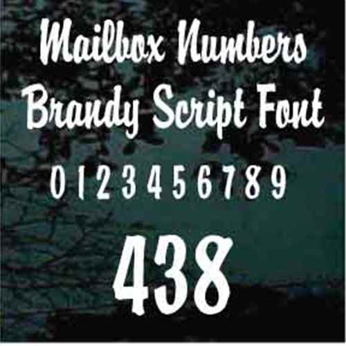 Mailbox House Numbers Brandy Script Font - Set of Two