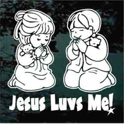 Boy & Girl Praying Jesus Luvs Me