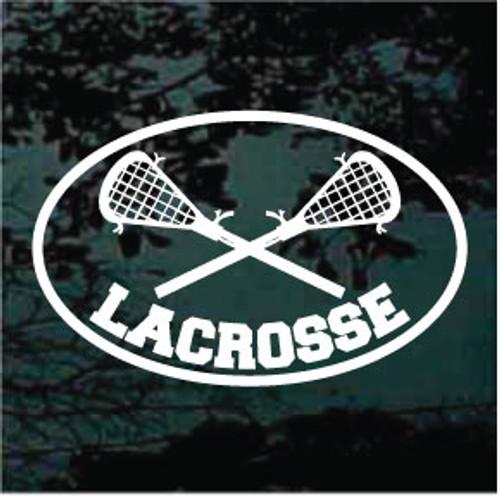 Lacrosse Sticks Crossed Oval 02