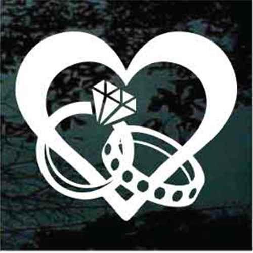 Heart With Interlocking Wedding Rings