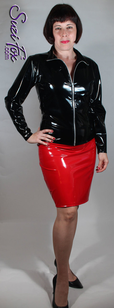 Pencil Skirt with rear 2-slider zipper, shown in Red Vinyl/PVC Spandex, custom made by Suzi Fox. Shown with optional Crop Jacket (Item#: J2W) Custom made to your measurements! Available in any fabric on this site. Made in the U.S.A.