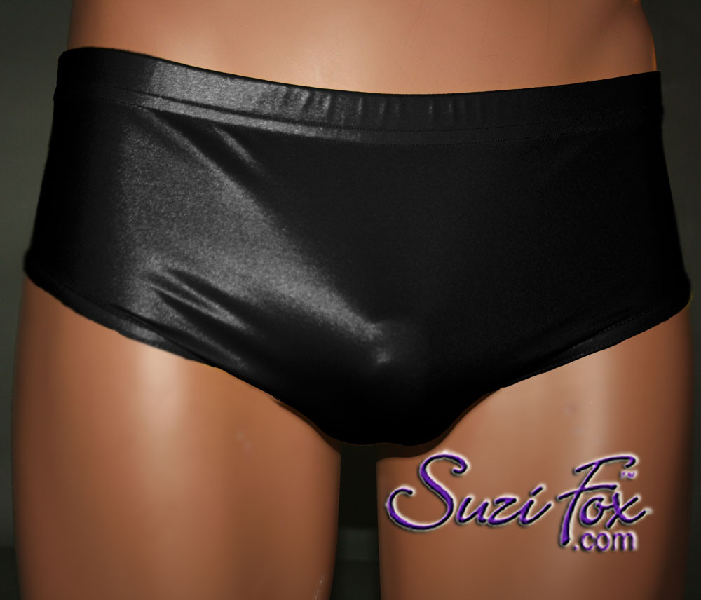 Mens Smooth Front, Brief Bikini , custom made by Suzi Fox - shown in Black Wet Look Lycra Spandex. Available in black, white, red, Navy blue, Royal blue, Hot Pink, Lime green, green, yellow, Neon Orange, turquoise, Steel Gray. Made in the U.S.A.