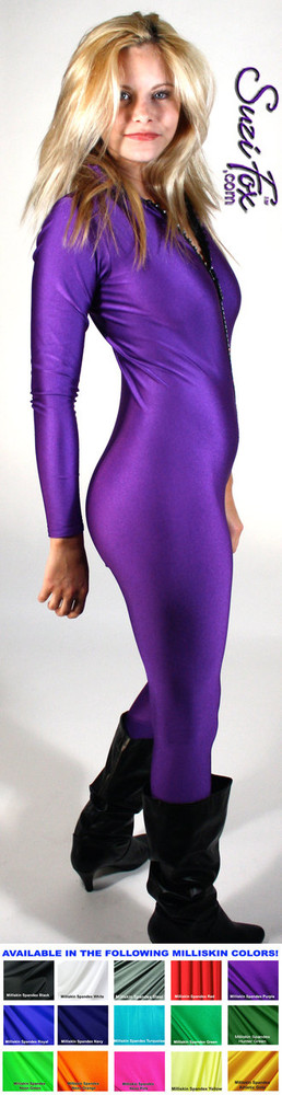 """Custom Catsuit by Suzi Fox shown in Purple Milliskin Tricot Spandex.  You can order this Catsuit in almost any fabric on this site.  • Available in black, red, white, navy blue, royal blue, sky blue, turquoise, hunter green, green, neon green, neon pink, neon orange, athletic gold, lemon yellow, steel gray, purple. This is a light, thin, airy, 4-way stretch fabric with very little shine. • Your choice of front or back zipper (front zipper shown). • Optional 1 or 2-slider crotch zipper, and """"Selene"""" from Underworld TS Brass zipper, or aluminum circular slider zipper like Catwoman comic characters. • Optional wrist zippers • Optional ankle zippers • Optional finger loops • Optional rear patch pockets • Made in the U.S.A."""