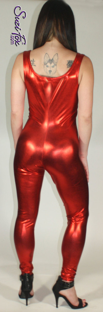 Custom Tank Style Catsuit by Suzi Fox shown in Red Metallic Foil coated spandex.  You can order this Catsuit in almost any fabric on this site.  • Available in bold, silver, copper, royal blue, purple, turquoise, red, green, fuchsia, gunmetal, black faux leather/rubber look. This is a stretch metallic foil, 4-way stretch fabric with a brilliant shine. • Optional ankle zippers • Made in the U.S.A.