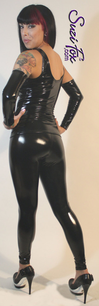 Custom Leggings shown in Black Gloss Vinyl/PVC coated Nylon Spandex, custom made by Suzi Fox. Hiphugger Rise shown.  • Choose any fabric on this site, including vinyl/PVC, metallic foil, metallic mystique, wetlook lycra Spandex, Milliskin Tricot Spandex. The vinyl/PVC is a latex alternative, great for people allergic to latex! • Optional Custom sizing • Plus sizes available. • 1 inch elastic at the waist. • Optional rear patch pockets. • Optional belt loops. • Optional ankle zippers. • Optional 1 or 2-slider crotch zipper. • Worldwide shipping. • Made in the U.S.A.