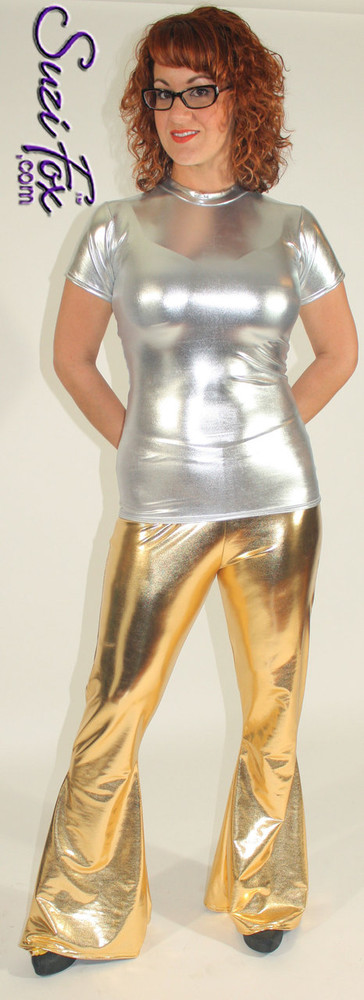 Womens Bellbottom Pants shown in Gold Metallic Foil Spandex, custom made by Suzi Fox. You can order this in almost any fabric on this site.  • Custom made to your measurements! • Available in gold, silver, copper, royal blue, purple, turquoise, red, green, fuchsia, gun metal, black faux leather/rubber coated spandex. This is a 4-way stretch fabric with a brilliant shine. • 1 inch elastic at the waist. • Optional 1 or 2-slider crotch zipper. • Optional ankle zippers • Optional rear patch pockets • Optional belt loops • Made in the U.S.A.