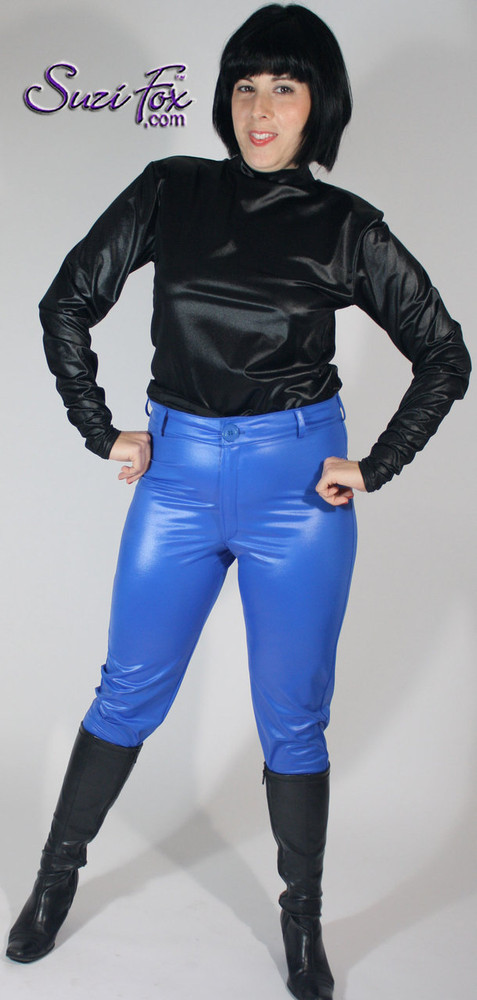 Womens Jean style Pants shown in Royal Blue Wet Look Lycra Spandex, custom made by Suzi Fox. • Choose any fabric on this site, including vinyl/PVC, metallic foil, metallic mystique, wetlook lycra Spandex, Milliskin Tricot Spandex. • Waistband, Button and front fly zipper. • optional rear patch pockets. • optional belt loops. • Optional ankle zippers. • Made in the U.S.A., Worldwide shipping.