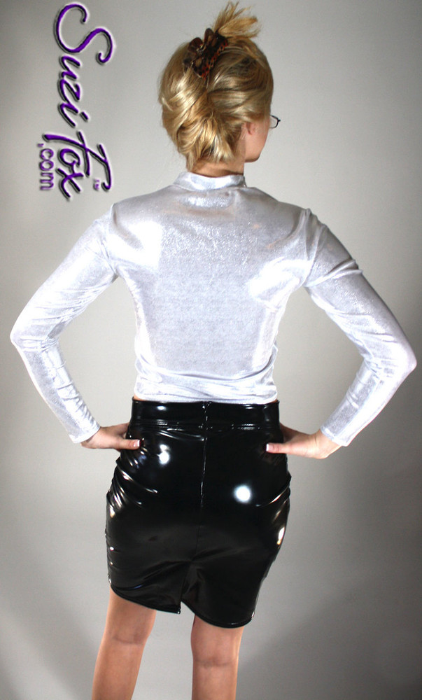 Womens Pullover Shirt in Silver Metallic Mystique, custom made by Suzi Fox. Custom made to your measurements! Available in black, red, turquoise, green, purple, royal blue, hot pink/fuchsia, silver, copper, gold Metallic Mystique spandex, and any other fabric on this site. • Optional wrist zippers if you choose long sleeves. Made in the U.S.A.
