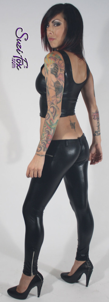 Tank Top shown in Black Faux Leather/Rubber Metallic, custom made by Suzi Fox. Custom made to your measurements! Available in gold, silver, copper, gunmetal, turquoise, Royal blue, red, green, purple, fuchsia, black faux leather/rubber, and any other fabric on this site. Made in the U.S.A.