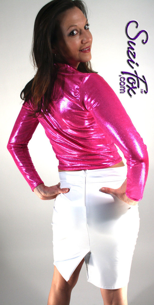 Womens Pullover Shirt in Hot Pink/Fuchsia Metallic Mystique, custom made by Suzi Fox. Custom made to your measurements! Available in black, red, turquoise, green, purple, royal blue, hot pink/fuchsia, silver, copper, gold Metallic Mystique spandex, and any other fabric on this site. • Optional wrist zippers if you choose long sleeves. Made in the U.S.A.