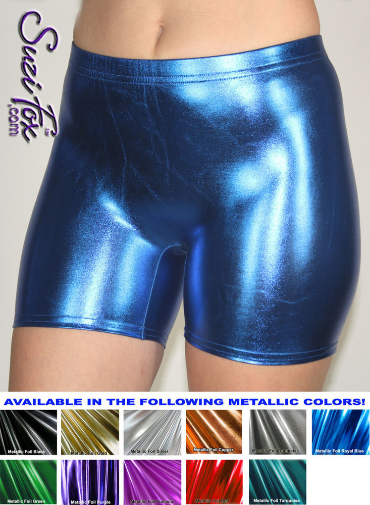 Women's Smooth Front Shorts shown in Royal Blue Metallic foil coated Spandex, custom made by Suzi Fox. Custom made to your measurements! Available in gold, silver, copper, gunmetal, turquoise, Royal blue, red, green, purple, fuchsia, black faux leather/rubber, and any other fabric on this site. • 1 inch no-roll elastic in the waist. • Choose your inseam! • Optional rear patch pockets. • Optional belt loops. Made in the U.S.A.