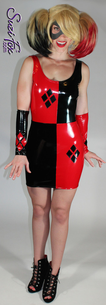Harley Quinn Tank Mini Dress in Shiny Gloss Black & Red Vinyl/PVC Spandex by Suzi Fox. Diamonds on the red sides in the front. Choose any fabric on this site! Popular fabrics are: red & black vinyl/PVC, red & black metallic foil, red & black wet look lycra Spandex. Made in the U.S.A.