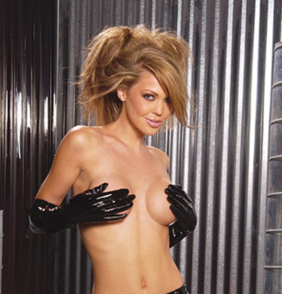 "Included Gloves are Elegant Moments brand, one size fits most, black PVC. 20"" long."