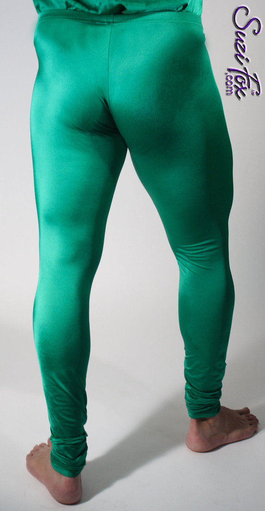 Mens High Waist Leggings shown in Green Milliskin Tricot Spandex, custom made by Suzi Fox. Custom made to your measurements! • Available in black, white, red, royal blue, sky blue, turquoise, purple, green, neon green, hunter green, neon pink, neon orange, athletic gold, lemon yellow, steel gray Miilliskin Tricot spandex and any fabric on this site. • 1 inch no-roll elastic at the waist. • Optional 1 or 2-slider crotch zipper. • Choose your ankle size - tight ankles, jean cut, boot cut, or bellbottom. • Optional ankle zippers. • Optional belt loops. • Optional rear patch pockets. Made in the U.S.A.