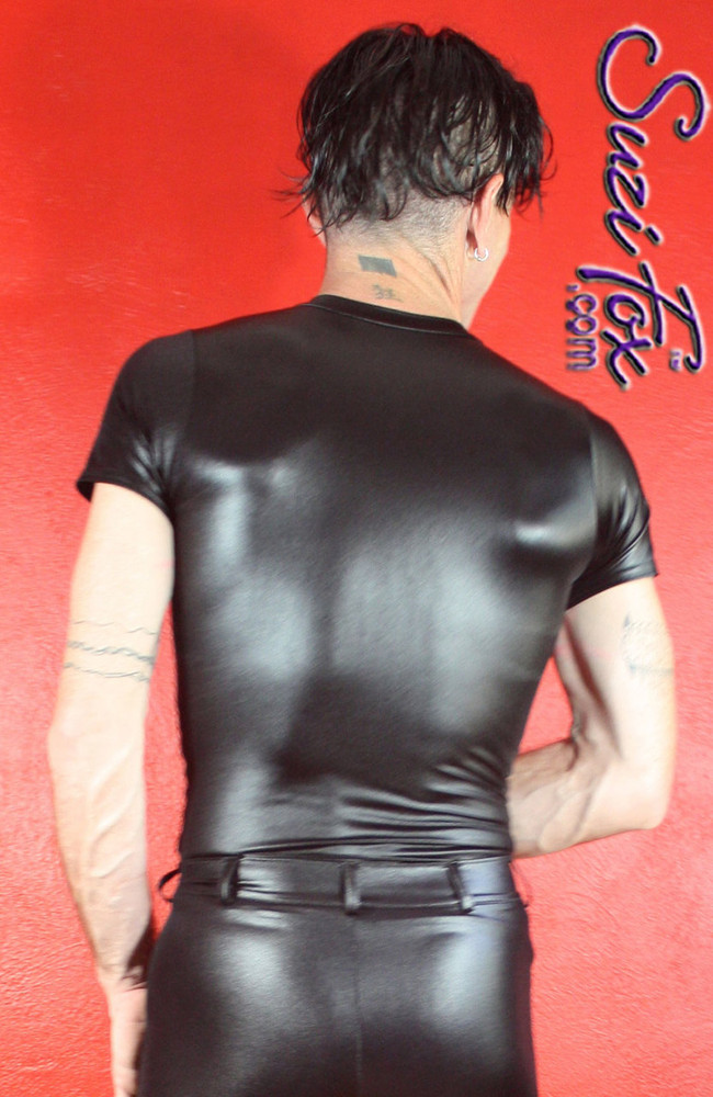 Men's Tee Shirt shown in Black Wetlook Lycra Spandex, custom made by Suzi Fox. • Available in black, white, red, turquoise, navy blue, royal blue, hot pink, lime green, green, yellow, steel gray, neon orange Wet Look, and any fabric on this site. • Choose your sleeve length. • Give us your measurements for a custom fit! • Standard length is 24 inches (61 cm) for sizes XXXS-Medium; 27 inches (68.6 cm) for sizes Large and up. • Optional add extra length to the shirt. • Made in the U.S.A.