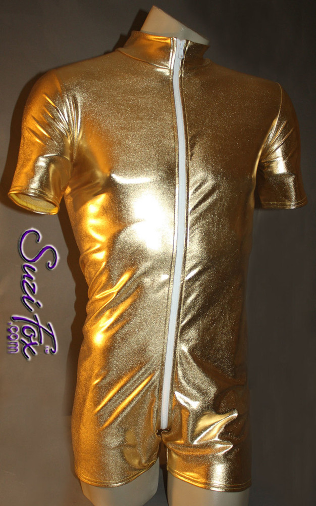 Mens Romper shown in Gold Metallic Foil Spandex, custom made by Suzi Fox. • Available in gold, silver, copper, gunmetal, turquoise, Royal blue, red, green, purple, fuchsia, black faux leather/rubber Metallic Foil, and any fabric on this site. • Your choice of front or back zipper (front zipper shown). • Optional 1 or 2-slider crotch zipper. • Optional long sleeves. • Optional wrist zippers • Optional finger loops • 4 inch inseam and 6 inch sleeve shown. • Made in the U.S.A.