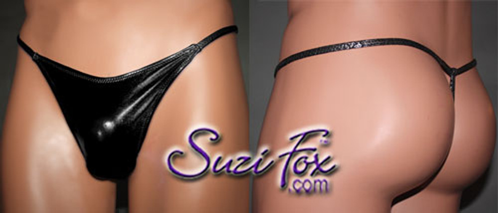 Men's Smooth Front, G-String thong - shown in Black Faux Leather Metallic Foil Spandex, custom made by Suzi Fox. • Standard front height is 7 inches (17.8 cm) tall. • Available in 3, 4, 5, 6, 7, 8, 9, and 10 inch front heights. • Wear it as swimwear OR underwear! • You can choose any fabric on this site, including vinyl/PVC, Metallic Foil, Metallic Mystique, Wetlook Lycra Spandex, Milliskin Tricot Spandex. The vinyl/PVC is a latex alternative, great for people allergic to latex! • Worldwide shipping. • Made in the U.S.A. We custom make every garment when you order it (including standard sizes).
