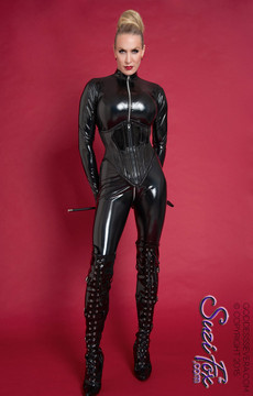 "Custom Catsuit by Suzi Fox shown in Black Gloss Black Vinyl/PVC coated Nylon Spandex.  Photo by Goddess Severa • Available in black, red, white, light pink, neon pink, fuchsia, purple, royal blue, navy blue, turquoise, black matte (no shine), white matte (no shine) stretch vinyl coated spandex. • Your choice of front or back zipper (front zipper shown). • Optional 2-slider crotch zipper, and ""Selene"" from Underworld TS Brass zipper, or aluminum circular slider zipper like Catwoman comic characters. • Made in the U.S.A."