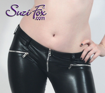 Womens 5 Zipper Leggings with crotch zipper, faux zippered pockets, and ankle zippers shown in Black Faux Leather Metallic, by Suzi Fox.  • 1 inch no-roll elastic at the waist. • Choice of zippers. • Choose your ankle size - tight ankles, jean cut, boot cut, or bellbottom. • Optional rear patch pockets. • Optional belt loops. • You can choose any fabric on this site, including vinyl/PVC, Metallic Foil, Metallic Mystique, Wetlook Lycra Spandex, Milliskin Tricot Spandex.
