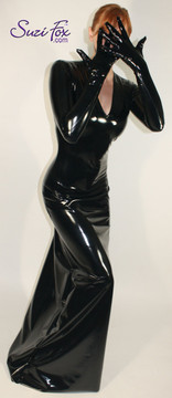 V neck, Long Sleeved, wide hem, Maxi Dress shown in Gloss Black Vinyl coated Nylon Spandex, by Suzi Fox. • Custom made to your measurements • Zipper in the back. • Optional wrist zippers. • Choose any fabric on this site, including vinyl/PVC, metallic foil, metallic mystique, wetlook lycra Spandex, Milliskin Tricot Spandex. • Crafted in the U.S.A.flag3.jpg • Worldwide shipping.  Order the custom gloves here: http://liquidvinylclothing.com/GL2-4005