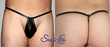 Men's Teardrop Pouch, G-String thong - shown in Black Vinyl/PVC Spandex, custom made by Suzi Fox.  6 inch tall front shown. • Our smallest, most revealing suit! • Available in 3, 4, 5, 6, 7, and 8 inch front heights. • Choose your pouch size! • Wear as swimwear or underwear. • You can choose any fabric on this site, including vinyl/PVC, Metallic Foil, Metallic Mystique, Wetlook Lycra Spandex, Milliskin Tricot Spandex. The vinyl/PVC is a latex alternative, great for people allergic to latex! • Worldwide shipping. • Made in the U.S.A. We custom make every garment when you order it (including standard sizes).