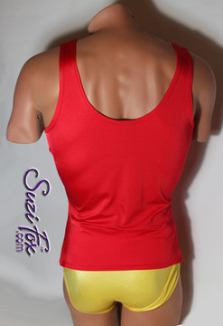 Mens Tank Top shown in Red Milliskin Tricot Spandex, custom made by Suzi Fox. • This fabric has extreme stretch and shows off your muscles! Order 1 size smaller for extreme body hugging, but awesome comfort! • Choose any fabric on this site, including vinyl/PVC, metallic foil, metallic mystique, wetlook lycra Spandex, Milliskin Tricot Spandex. The vinyl/PVC is a latex alternative, great for people allergic to latex! • Optional custom sizing. • Plus size available. • Worldwide shipping. • Made in the U.S.A. We custom make every garment when you order it (including standard sizes).