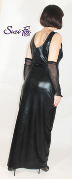 Tank Maxi Dress in Black faux leather Metallic Foil coated Spandex by Suzi Fox. Choose any fabric on this site! Custom made to your measurements. Available in black metallic faux leather/rubber, gold, silver, copper, royal blue, purple, turquoise, red, green, fuchsia, gun metal metallic foil coated nylon spandex. Made in the U.S.A.