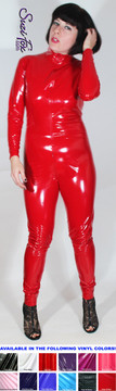 "Custom Catsuit by Suzi Fox shown in Red Gloss Vinyl coated Nylon Spandex. Shown with invisible crotch zipper. You can order this Catsuit in almost any fabric on this site.  • Available in black, red, white, light pink, neon pink, fuchsia, purple, royal blue, navy blue, turquoise, black matte (no shine), white matte (no shine) stretch vinyl coated spandex. • Optional 1 or 2-slider crotch zipper, and ""Selene"" from Underworld TS Brass zipper. • Optional wrist zippers • Optional ankle zippers • Optional finger loops • Made in the U.S.A."