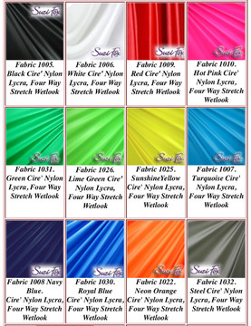 """Wet Look Lycra Spandex (Cire') Fabrics.  85% Nylon. 15% Lycra. This is a four way stretch fabric. Wet look lycra fabrics have undergone a heat treatment to give them a """"Cire'"""" medium shine finish. Wet look lycra is a very stretchy fabric, it hugs the body but is extremely comfortable, and dries quickly. Available in black, white, red, turquoise, navy blue, royal blue, hot pink, lime green, green, yellow, steel gray, neon orange Wet Look.  Hand wash inside out in cold water, line dry. Iron inside out on low heat. Do not bleach."""