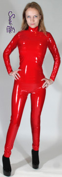 """Womens Custom Smooth Front (Back Zipper) Catsuit by Suzi Fox shown in Gloss Red Vinyl/PVC coated Nylon Spandex.  • Choose any fabric on this site, including vinyl/PVC, metallic foil, metallic mystique, wetlook lycra Spandex, Milliskin Tricot Spandex.  • Optional Custom Sizing. • Plus size available. • Optional """"Selene"""" from Underworld TS zipper.  • Optional wrist zippers. • Optional ankle zippers. • Made in the U.S.A."""