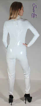 """Womens Custom Smooth Front (Back Zipper) Catsuit by Suzi Fox shown in Gloss White Vinyl/PVC coated Nylon Spandex. Click here to see this with a front zipper. • Choose any fabric on this site, including vinyl/PVC, metallic foil, metallic mystique, wetlook lycra Spandex, Milliskin Tricot Spandex. • Optional Custom Sizing. • Plus sizes available. • Optional """"Selene"""" from Underworld TS zipper.  • Optional wrist zippers. • Optional ankle zippers. • Made in the U.S.A."""